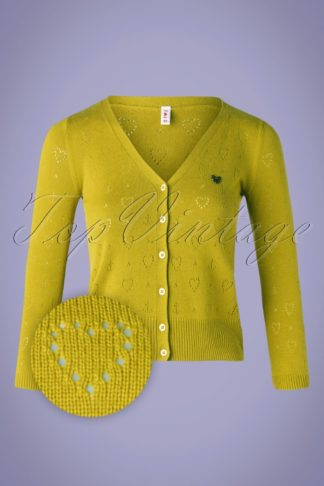 60s Logo Short Cardigan in Yellow Heart Anchor