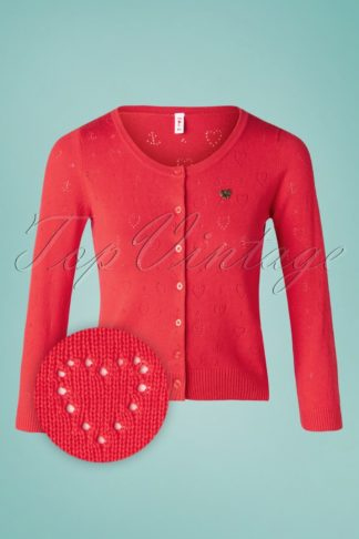 60s Logo Short Roundneck Cardigan in Red Heart Anchor