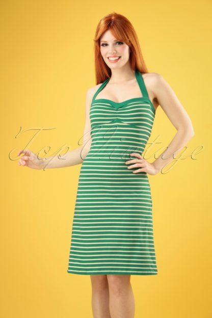 60s Lucy Breton Stripe Dress in Peapod Green