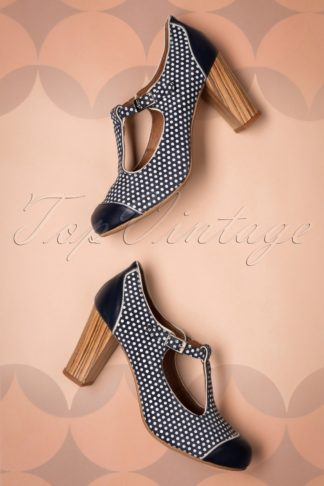 60s Madison Marino Leather T-Strap Pumps in Navy