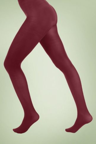 60s Opaque Tights in Burgundy