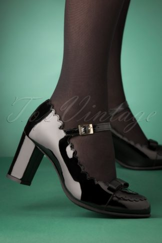 60s Penelope Mary Jane Patent Pumps in Black