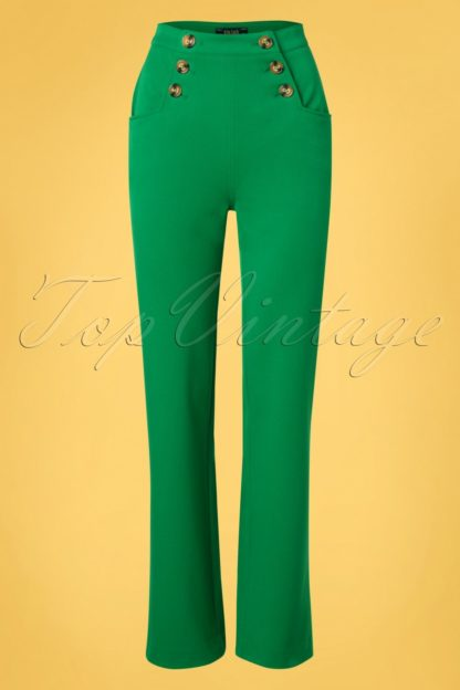 60s Sailor Broadway Pants in Very Green