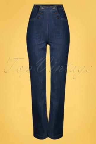 60s Sailor Denim Pants in Blue