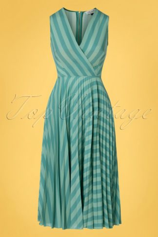 60s Skylar Pleated Wrap Dress in Minty Teal