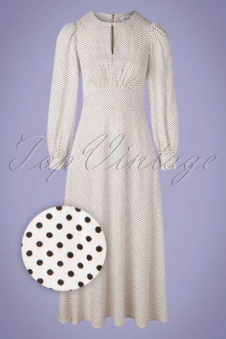 60s Vivi Polkadot Maxi Dress in Ivory