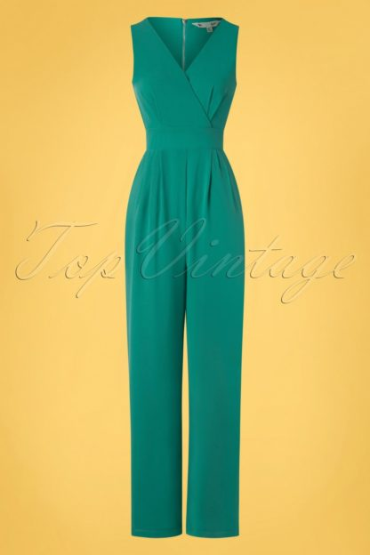 60s Wrap Me Up Jumpsuit in Sea Green