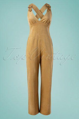 70s Corine Corduroy Buckle Jumpsuit in Beige
