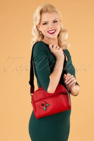 70s Daily Flower Bag in Risky Red