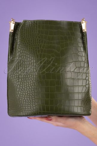 70s Gallio Croco Bucket Bag in Green