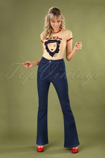 70s Legs Eleven Flared Trousers in Denim