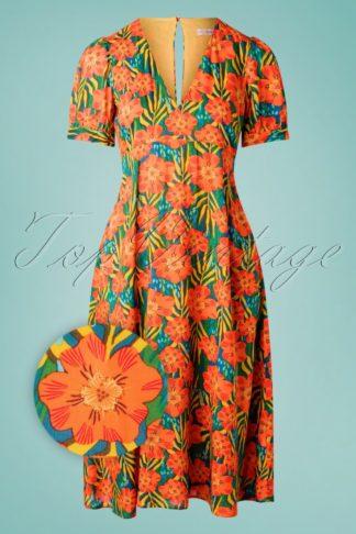 70s Mia Flower Swing Dress in Orange