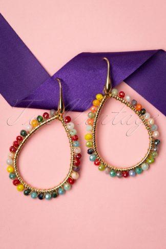 70s Rainbow Beads Earrings in Gold