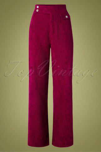 70s Reese Wide Leg Corduroy Trousers in Burgundy