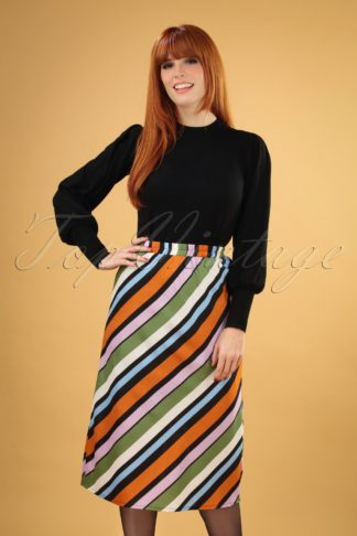 70s Staci Stripes Skirt in Multi