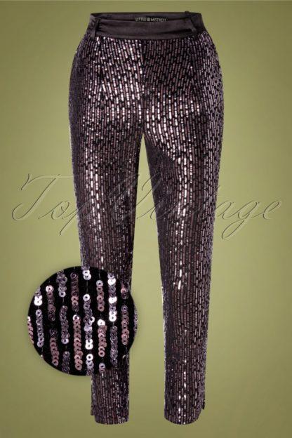 70s Tibbie Sequin Trousers in Black