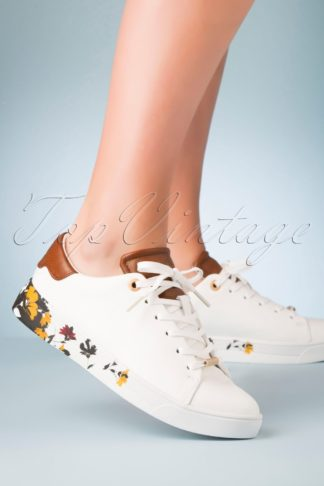70s Wenil Floral Sneakers in White