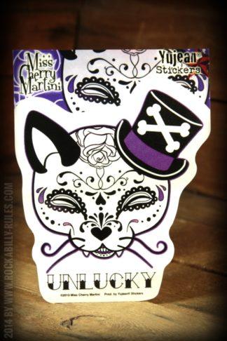 Aufkleber - Top Hat Kitty Sugar Skull von Rockabilly Rules