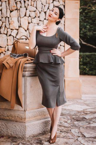 Ava Collaboration ~ 50s Ava Pencil Dress in Grey