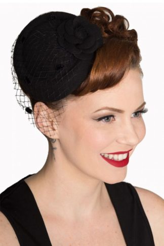 Banned Fascinator Marilyn, schwarz von Rockabilly Rules