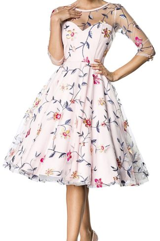 Belsira Retro Flower Dress Mittellanges Kleid rosa