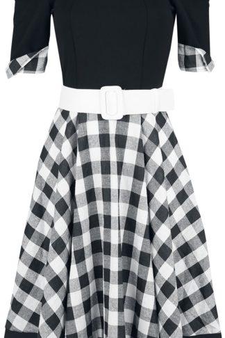 Belsira Schulterfreies Swing-Kleid Mittellanges Kleid schwarz/weiß