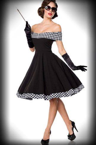 Belsira - Schulterfreies Swingkleid Louise, schwarz-weiß von Rockabilly Rules