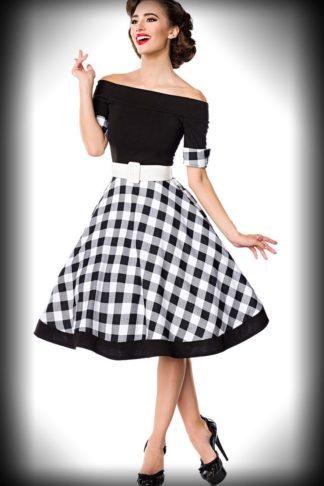 Belsira - Schulterfreies Swingkleid, schwarz-weiß von Rockabilly Rules