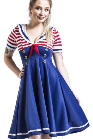 Belsira Swing-Kleid im Marinelook Mittellanges Kleid blau/rot/weiß
