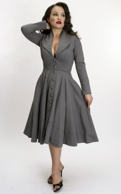 Bettie Page Clothing - Kleid Ursula mit Hahnentrittmuster | Houndstooth von Rockabilly Rules