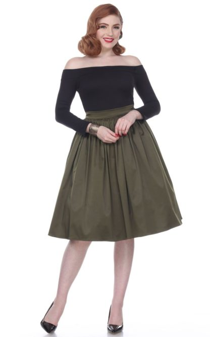 Bettie Page Clothing - Rock Ellie, olive von Rockabilly Rules