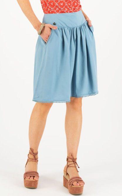 Blutsgeschwister Rock Logo Woven Skirt, pale blue von Rockabilly Rules