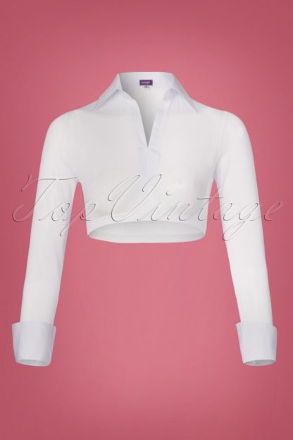 Cece Mesh Sleeves with Collar in White