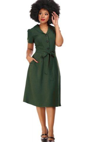 Collectif 40's Vintage Swing Kleid Hattie, grün von Rockabilly Rules