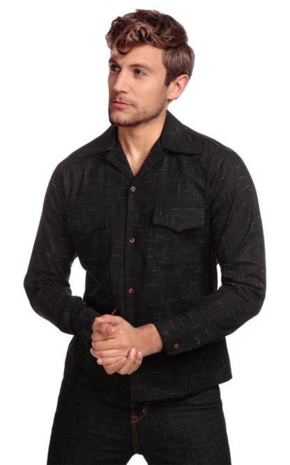 Collectif Adam Crosshatch Shirt, schwarz von Rockabilly Rules