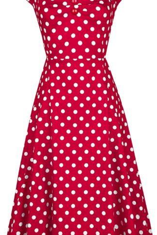 Collectif Clothing Dolores Doll Dress Polka Mittellanges Kleid rot