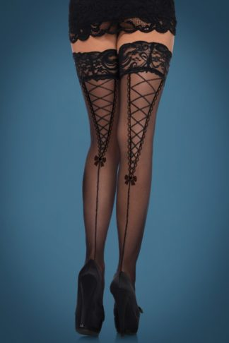 Dita Lace Top Hold Ups in Black