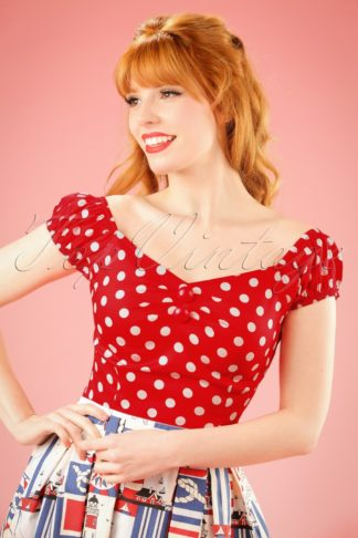 Dolores top Polka Red White