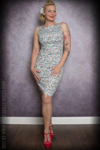 Etuikleid | Pencil Skirt Kleid - Vichykaro mit Früchten, hellblau/weiß von Rockabilly Rules