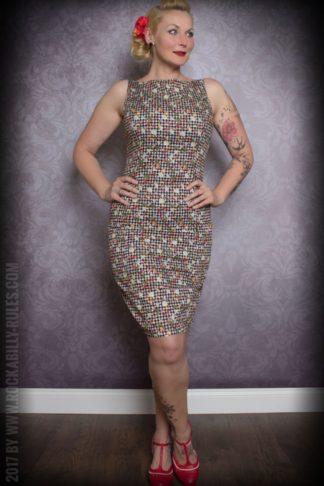 Etuikleid | Pencil Skirt Kleid - Vichykaro mit Früchten, schwarz/weiß von Rockabilly Rules