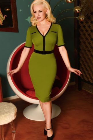 Glamour Bunny - Demi Pencil Dress in Green von Rockabilly Rules