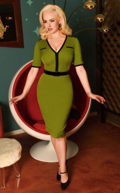 Glamour Bunny - Demi Pencil Dress in Green von Rockabilly Rules