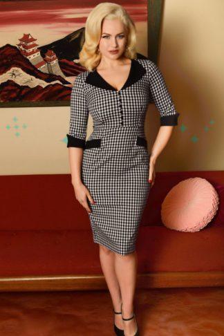 Glamour Bunny - Sarai Pencil Skirt Dress in Gingham von Rockabilly Rules