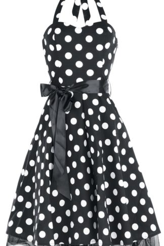 H&R London Big Dot Dress Mittellanges Kleid schwarz