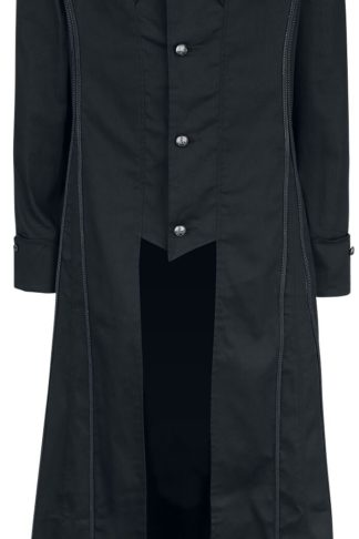 H&R London Black Classic Coat Militärmantel schwarz