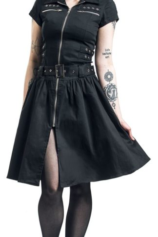 H&R London Black Emo Punk Long Dress Mittellanges Kleid schwarz