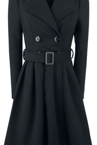 H&R London Black Vintage Swing Coat Wintermantel schwarz