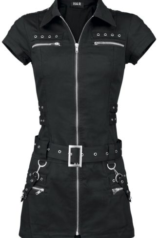 H&R London Black Zip Dress Kurzes Kleid schwarz