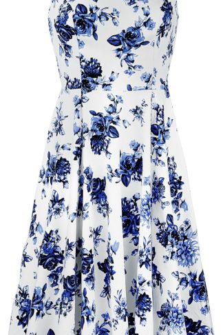 H&R London Blue Rosaceae Swing Dress Mittellanges Kleid multicolor