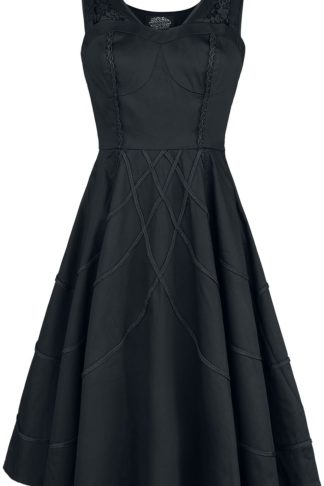 H&R London Braided Raven Dress Mittellanges Kleid schwarz